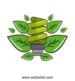 ecological save bulb with leaves