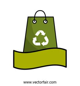 green bag with recycling symbol and ribbon
