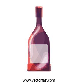 wine bottle with glass beverage