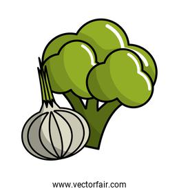 broccoli and onion vegetable icon