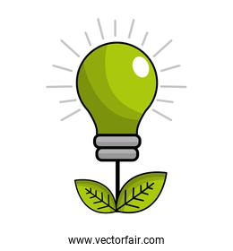 green energy bulb with leaves icon