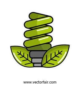 green energy save bulb with leaves icon