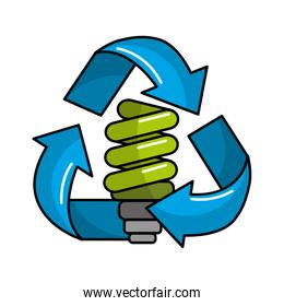 green save bulb with recycling symbol
