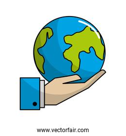 earth planet in the hand icon