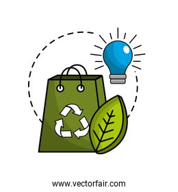 green bag with recycle sign, bulb and leaf