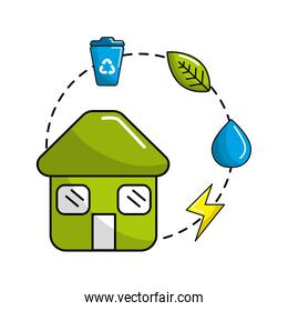 house with save energy, water and recycle campaign