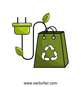 green bag with recycle sign and power cable