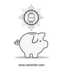line pig icon circuit bitcoin money currency
