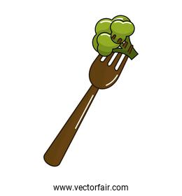 organ food fork with broccoli vegetable
