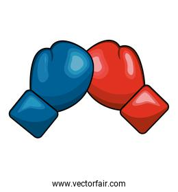 color boxing play and gloves icon