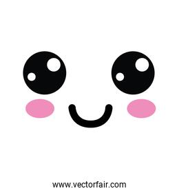 kawaii cute happy face with mouth and cheeks