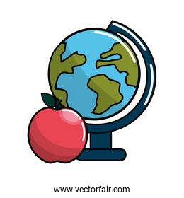 earth plenet desk with apple fruit