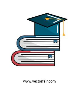 books tools with graduation cap icon