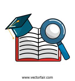 open notebook with graduation cap and magnifying