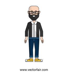 people, man with casual cloth with glasses avatar icon