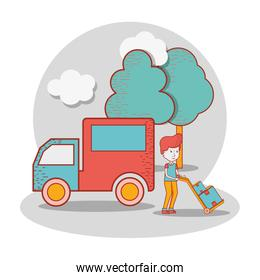 delivery man with truck and packages in the transportation tool