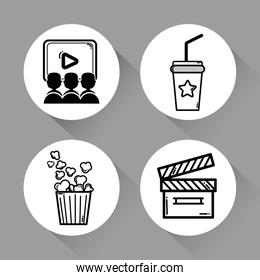 cinema with popcorn, soda, movie and clapper tool