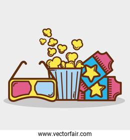 popcorn, soda and tickets in the cinema