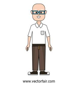 happy man with glasses, shirt and pants
