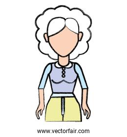 old woman with hairstyle and casual cloth