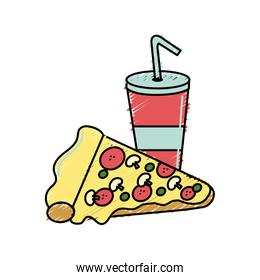 refreshing soda with delicious pizza food