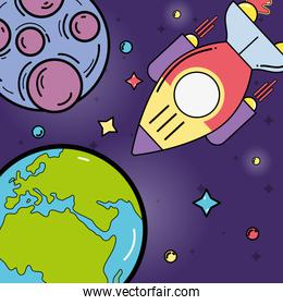 stars, planets and rocket in the space galaxy