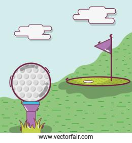 golf play game with ball and flag