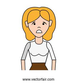 sad woman with hairstyle and elegant blouse