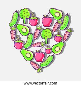 silhouette of heart with fresh and delicious vegetables