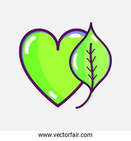 nice heart with leaf to healthy food