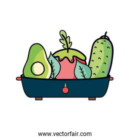 fresh and delicious vegetables inside of pot