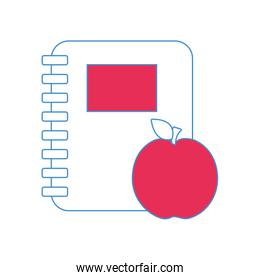 rings notebook tool with apple fruit