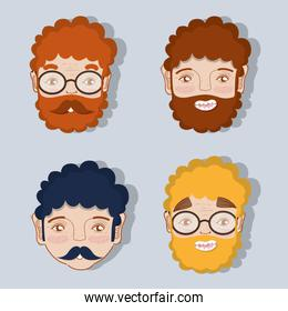 set different faces of fathers expression