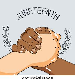 hands together to celebrate freedom day