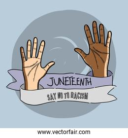 hands up with ribbon massage to juneteenth celebrate