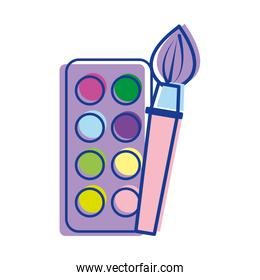 paint palette with brush art tool