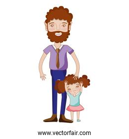 nice father with his daughter and casual wear