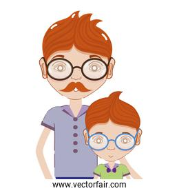 father with his son using glasses