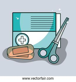aid band box with scissor pharmacy tools