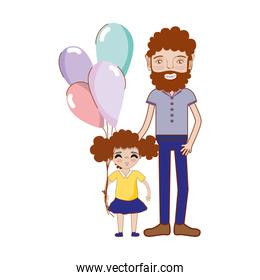 father with his daughter and balloons