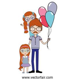 father with his daughters and balloons