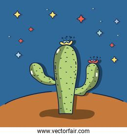 desert landscape with a cactus in a beautiful nigth