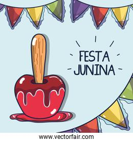 sweet apple related with the festa junina celebration