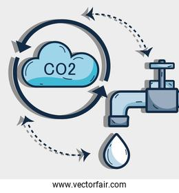 nice cycle of water with cloud and faucet