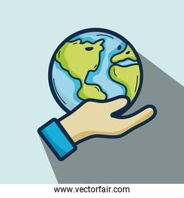 nice earth planet in the hand