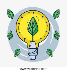 cute bulb with leaf inside to ecology care