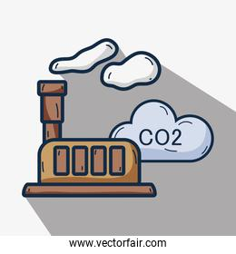 factory with co2 pollution and contaminating of planet