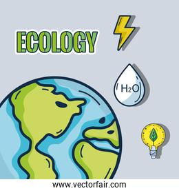 earth planet with ecology icons