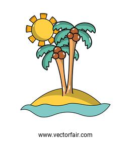 island with palms with cocnut and sun