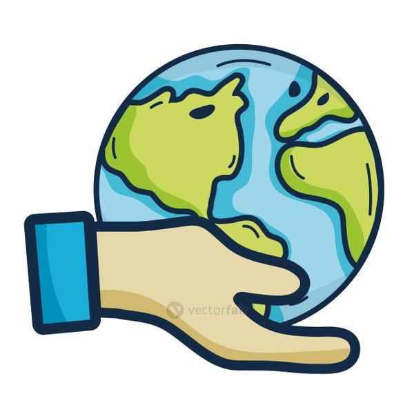 hand with earth planet to environment care